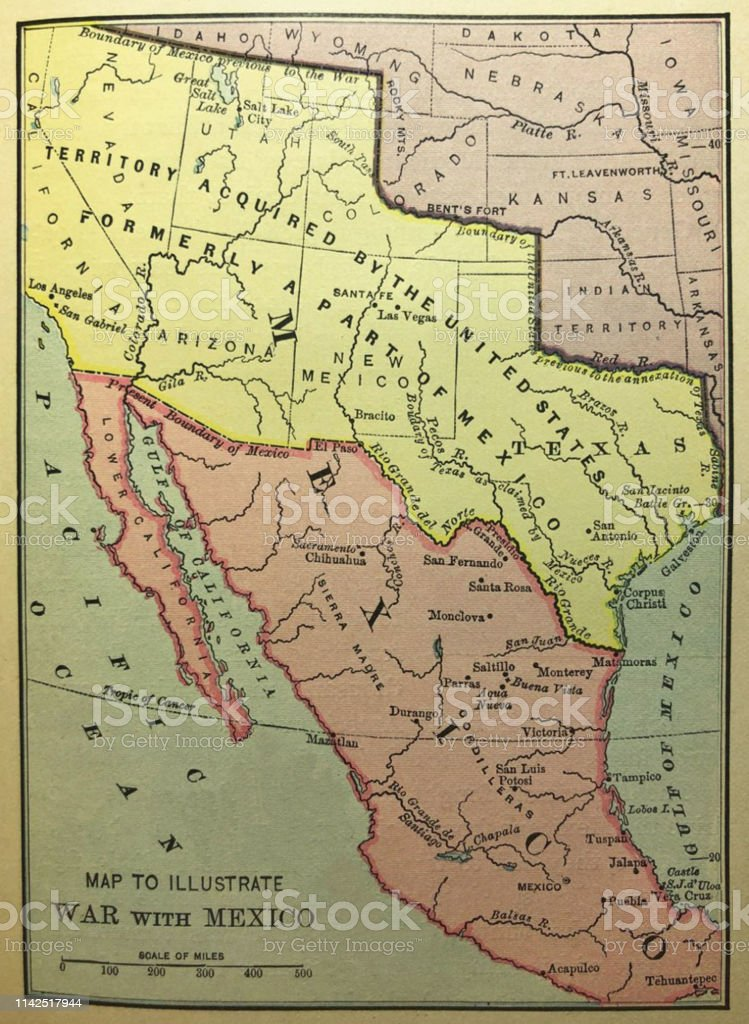 History Of The United States Map To Illustrate The War With Mexico 1846  Illustration Stock Illustration - Download Image Now