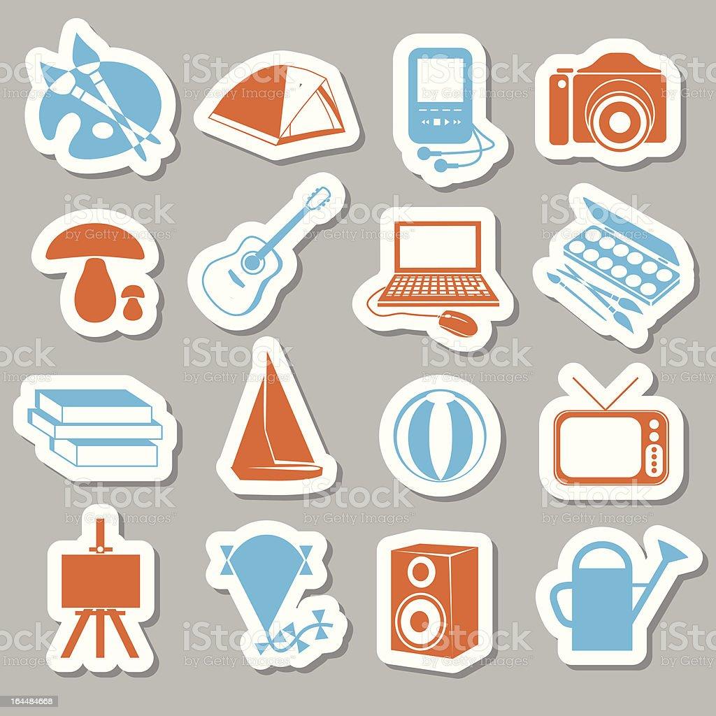 hobby stickers vector art illustration