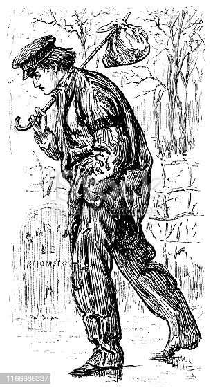 Portrait of a hobo carrying a bindle sack. Vintage etching circa late 19th century.