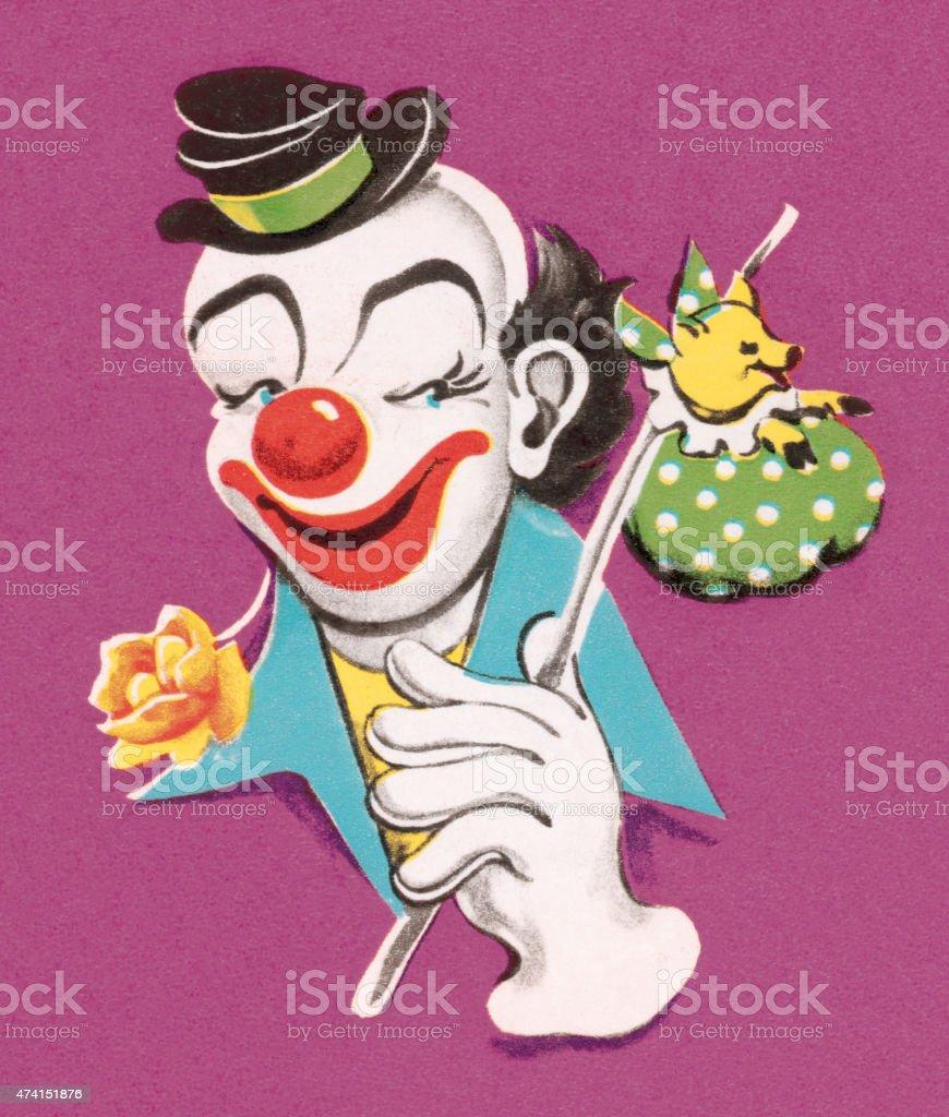 Hobo Clown vector art illustration