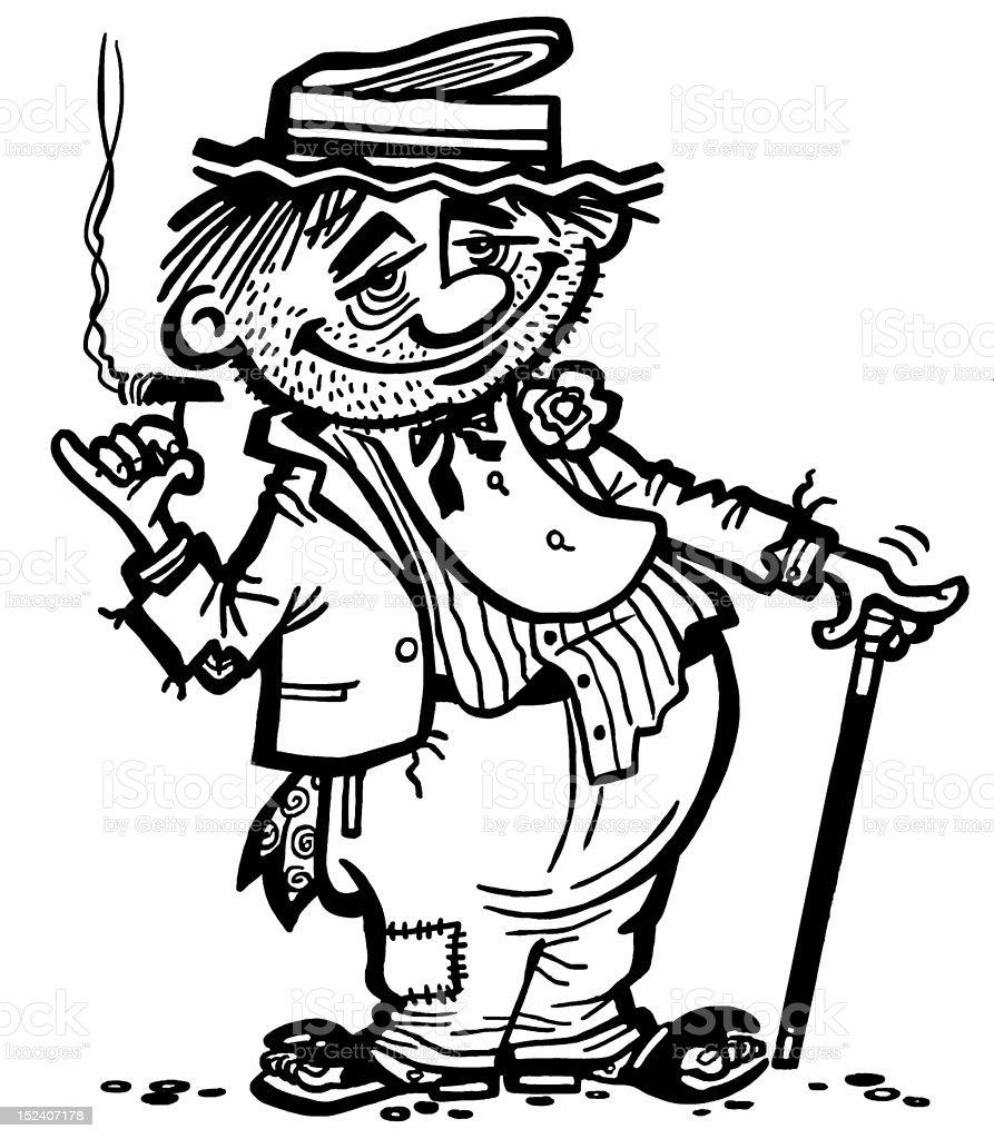 Hobo Smoking vector art illustration