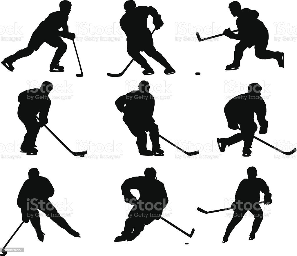 Hockey Player Silhouettes royalty-free hockey player silhouettes stock vector art & more images of activity