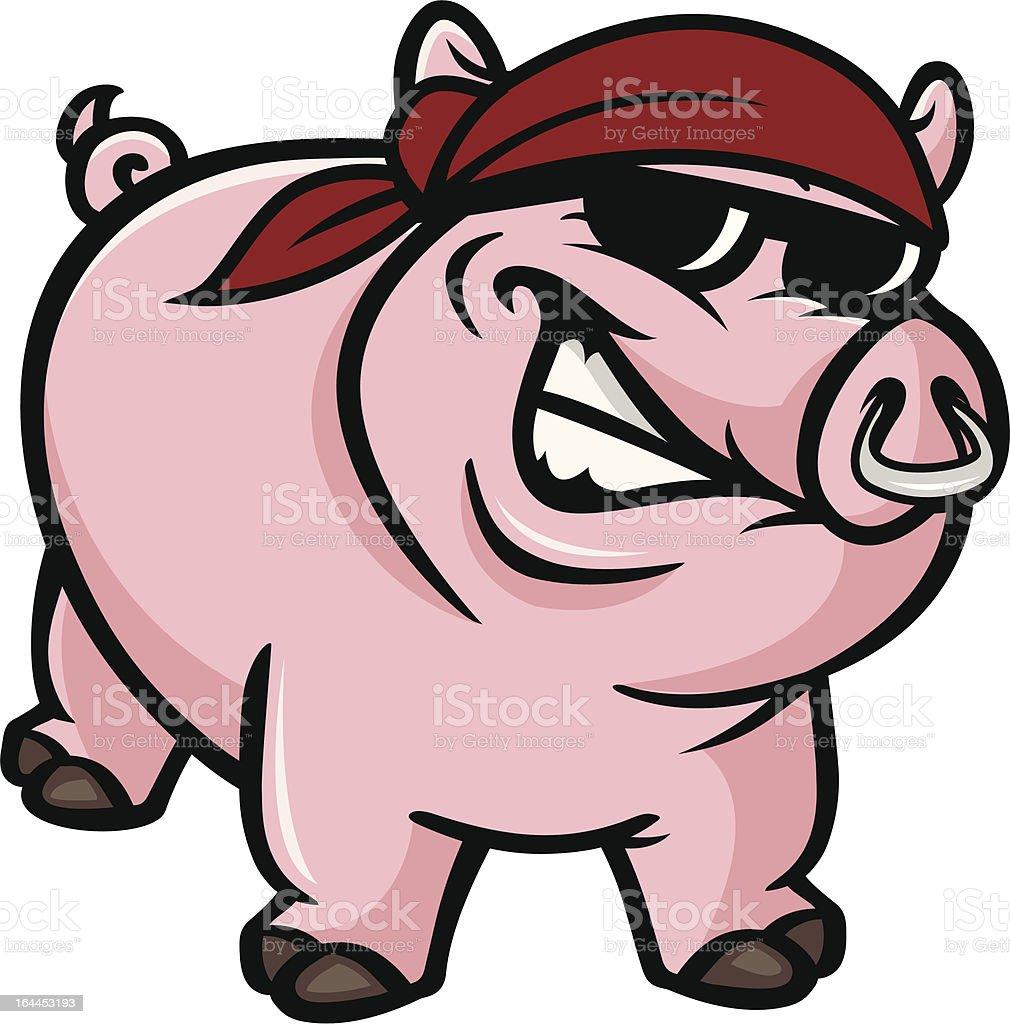 hog wild vector art illustration