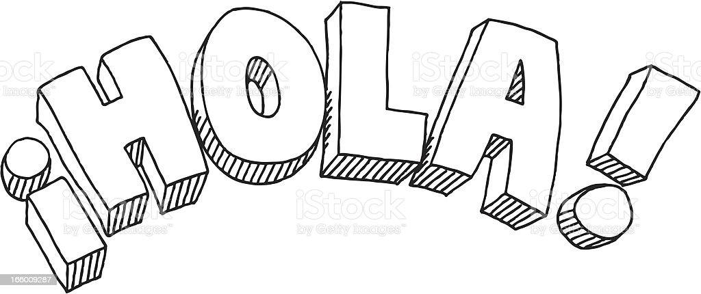 Hola Text Drawing vector art illustration