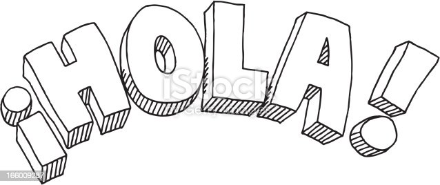 Hola Text Drawing Stock Vector Art & More Images of Black