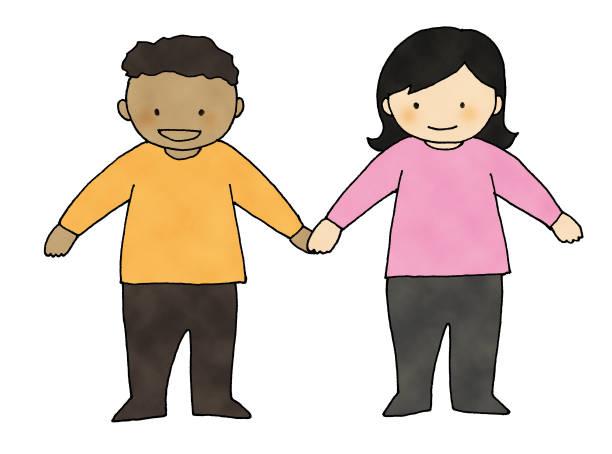 illustrazioni stock, clip art, cartoni animati e icone di tendenza di hold hands - two students together asian