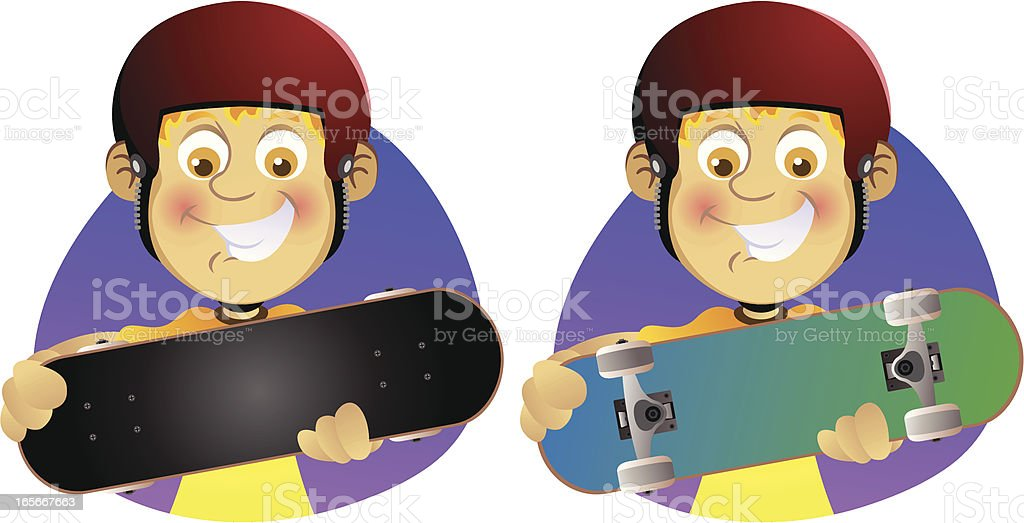 Holding a Skateboard vector art illustration
