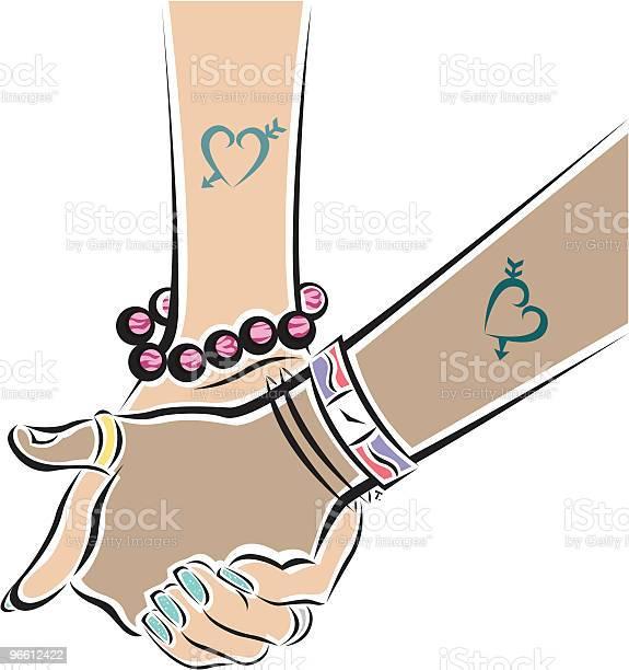 Holding Hands-vektorgrafik och fler bilder på Armband