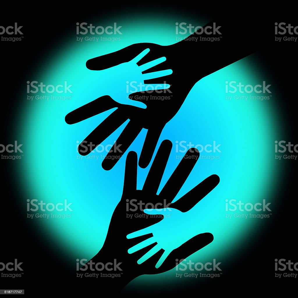Holding Hands Shows Childhood Parents And Parenting vector art illustration
