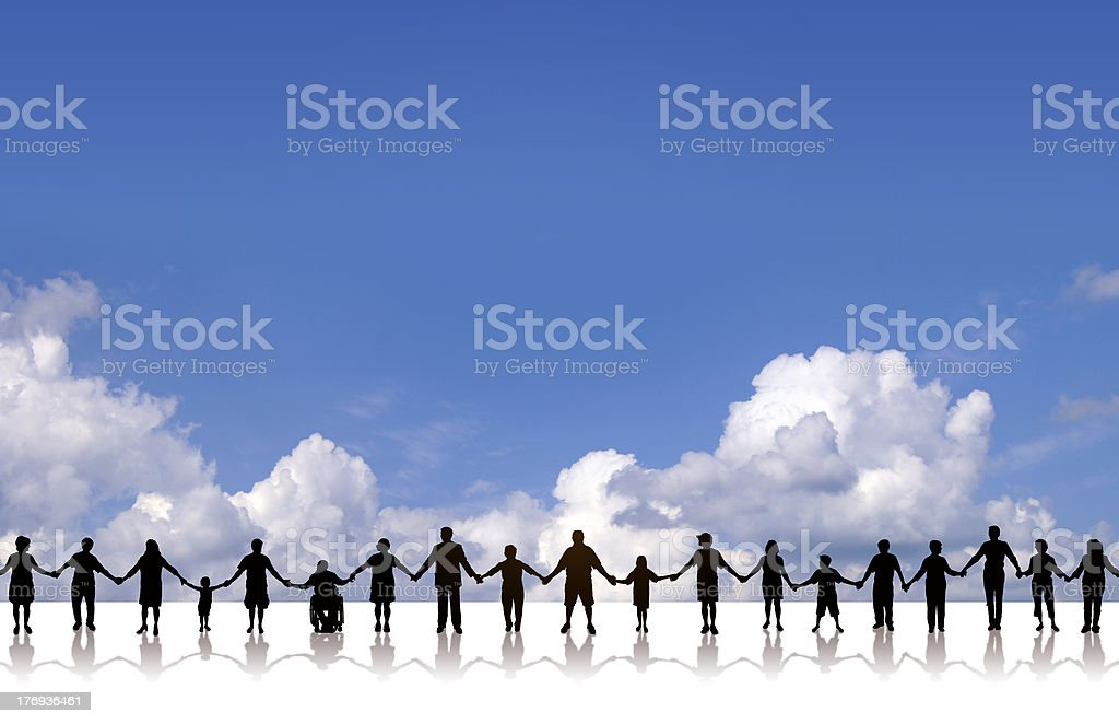 Holding Hands - United Community Cloud Background vector art illustration