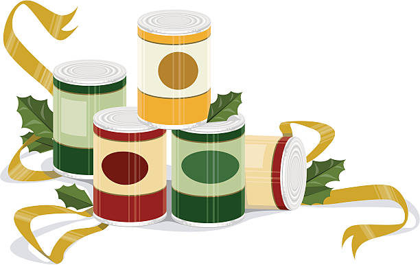 "Holiday Canned Goods ""A holidayathemed vector embellishment of canned goods, ribbons, and holly- perfect for a holiday food drive"" food drive stock illustrations"