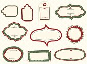 Set of vector doodle labels and tags with a holiday theme, and seamless pattern background.  Labels are grouped individually, and seamless pattern is on a separate layer for easy editing.  Colors are global swatches, so they can be modified easily.  Seamless pattern swatch is already in the swatches panel, for immediate use.