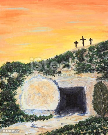An acrylic painting of three crosses and the empty tomb of Jesus Christ at sunrise on Easter morning. Done by contributor