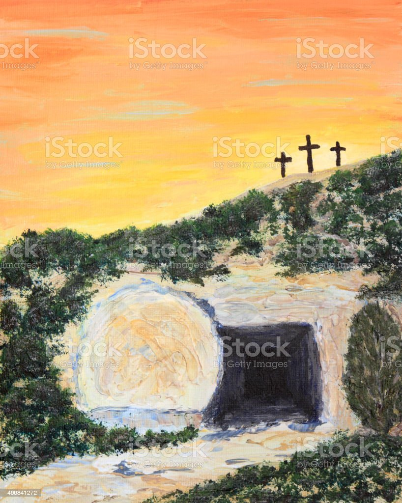 Holiday: Easter Sunrise and Empty Tomb Art Painting vector art illustration