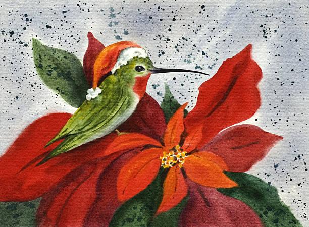 Holiday Hummingbird - I'll Be Home For Christmas vector art illustration