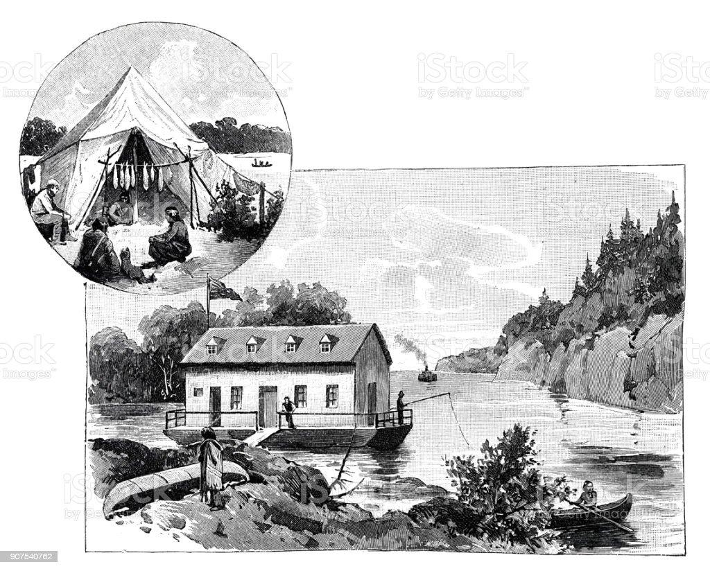 Holidays at Lake Huron, Canada vector art illustration