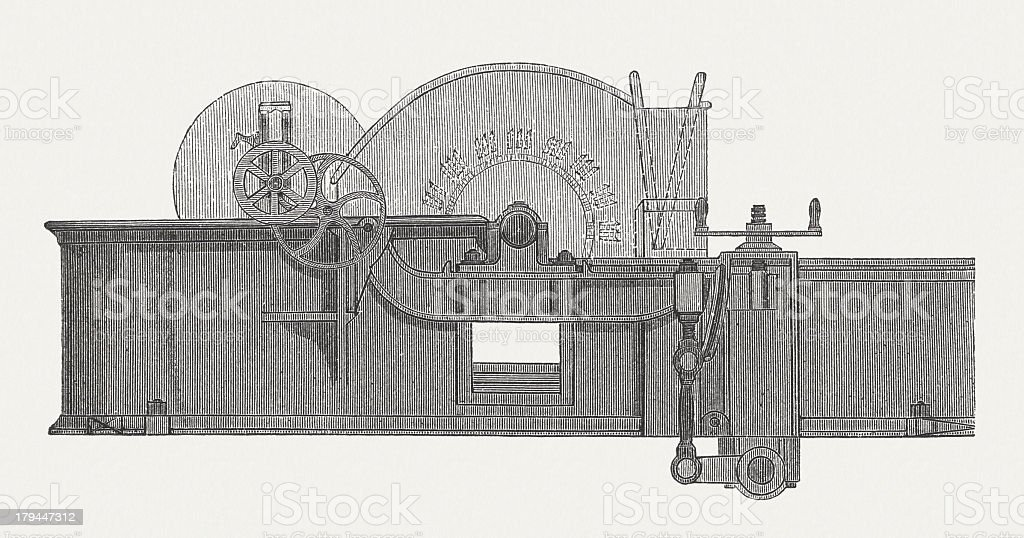 Hollander beater, washing and bleaching apparatus, wood engraving, published 1876 vector art illustration