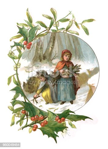 "Two young Victorian girls collecting firewood in snowy woodland. The illustration is set within a border of holly and mistletoe leaves and berries. From ""Nurse's Memories"" written by Charlotte Yonge and illustrated by Frederick Marriott and Florence Maplestone. Published in 1888 by E. & J.B. Young & Co, New York and printed in London by Eyre & Spottiswoode."