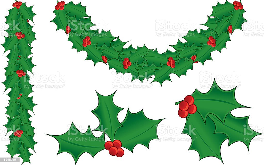 Holly, Berries and Garland royalty-free stock vector art