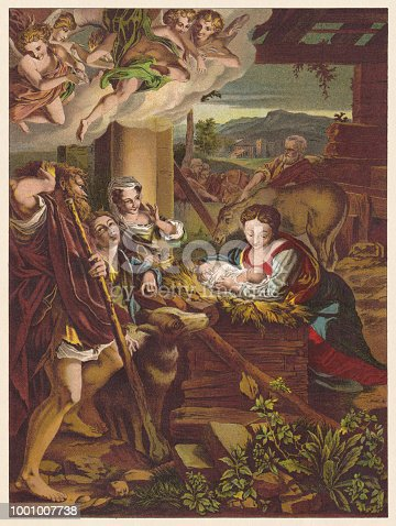 The Holy Night. Chromolithograph after a painting (1522/30) by Antonio da Correggio (Italian painter, 1489 - 1535) in the Gemäldegalerie Alte Meister (Old Masters Gallery)
