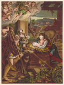 Holy Night, painted (1522/30) by Correggio (1489-1535), chromolithograph, published 1890