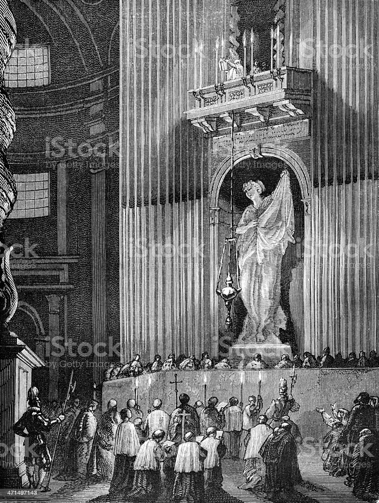 Holy relics ostension in Saint Peter's Basilica, Rome vector art illustration