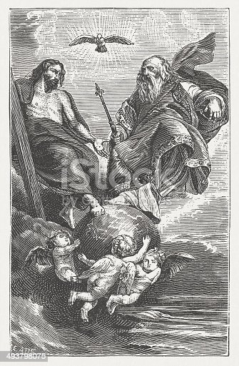 The Holy Trinity. Woodcut engraving after a painting (1616/17) by Peter Paul Rubens (Flemish painter, 1475 - 1564) in Staatsgalerie Neuburg, Bavaria, published in 1881.