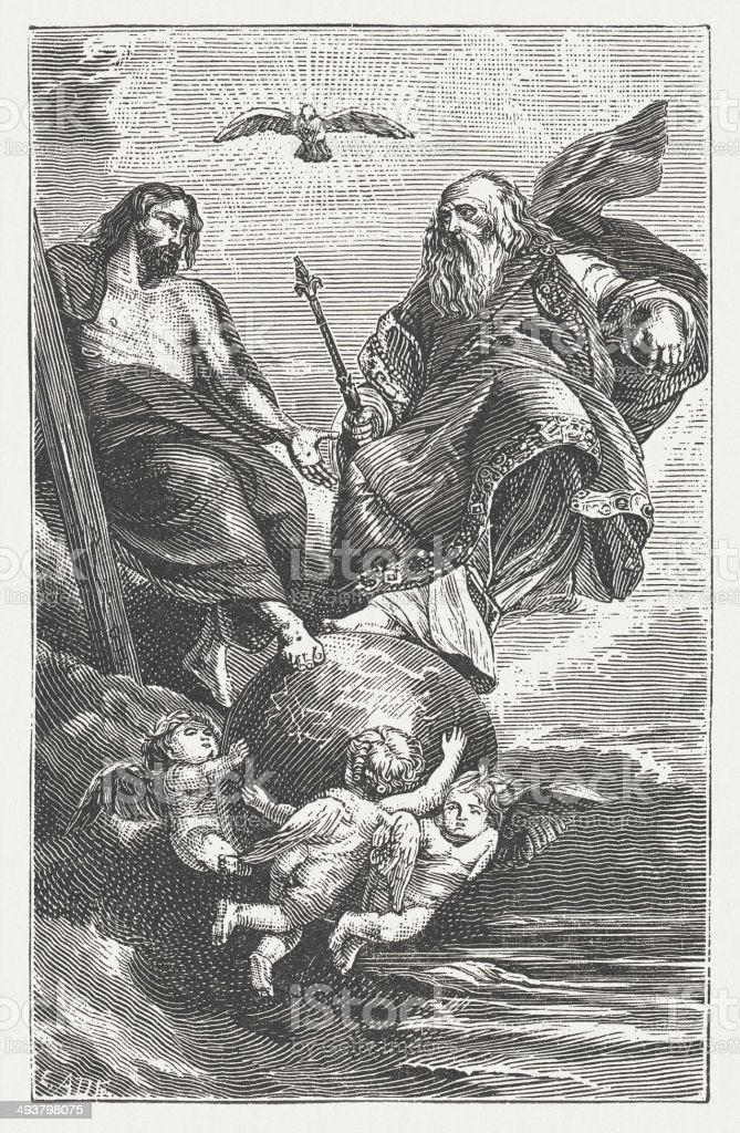 Holy Trinity, by Peter Paul Rubens, wood engraving, published 1881 vector art illustration
