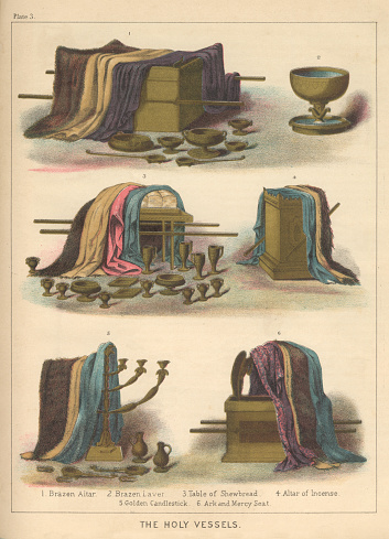 Holy Vessels for Jewish Priests Biblical Engraving