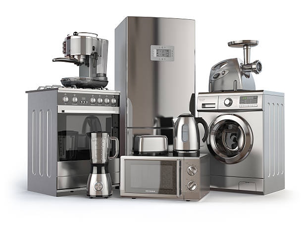 home appliances. gas cooker, refrigerator,  microwave and  washi - electronics stock illustrations, clip art, cartoons, & icons