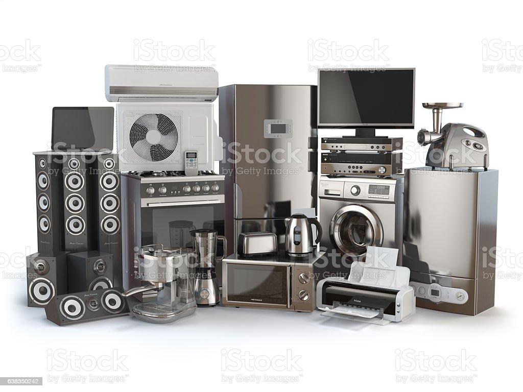 Home appliances. Gas cooker, tv cinema, refrigerator - Illustration vectorielle