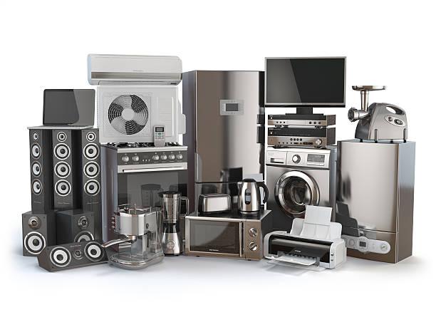 illustrations, cliparts, dessins animés et icônes de home appliances. gas cooker, tv cinema, refrigerator - nouveau foyer