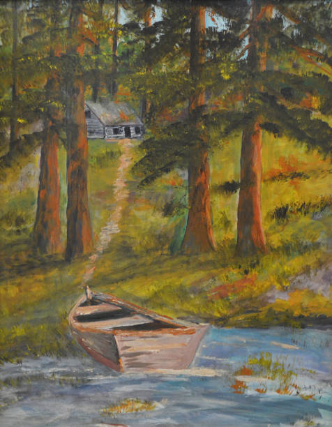 Home by the lake A well worn boat sits on the shore just down a path from a well worn home. lakeshore stock illustrations