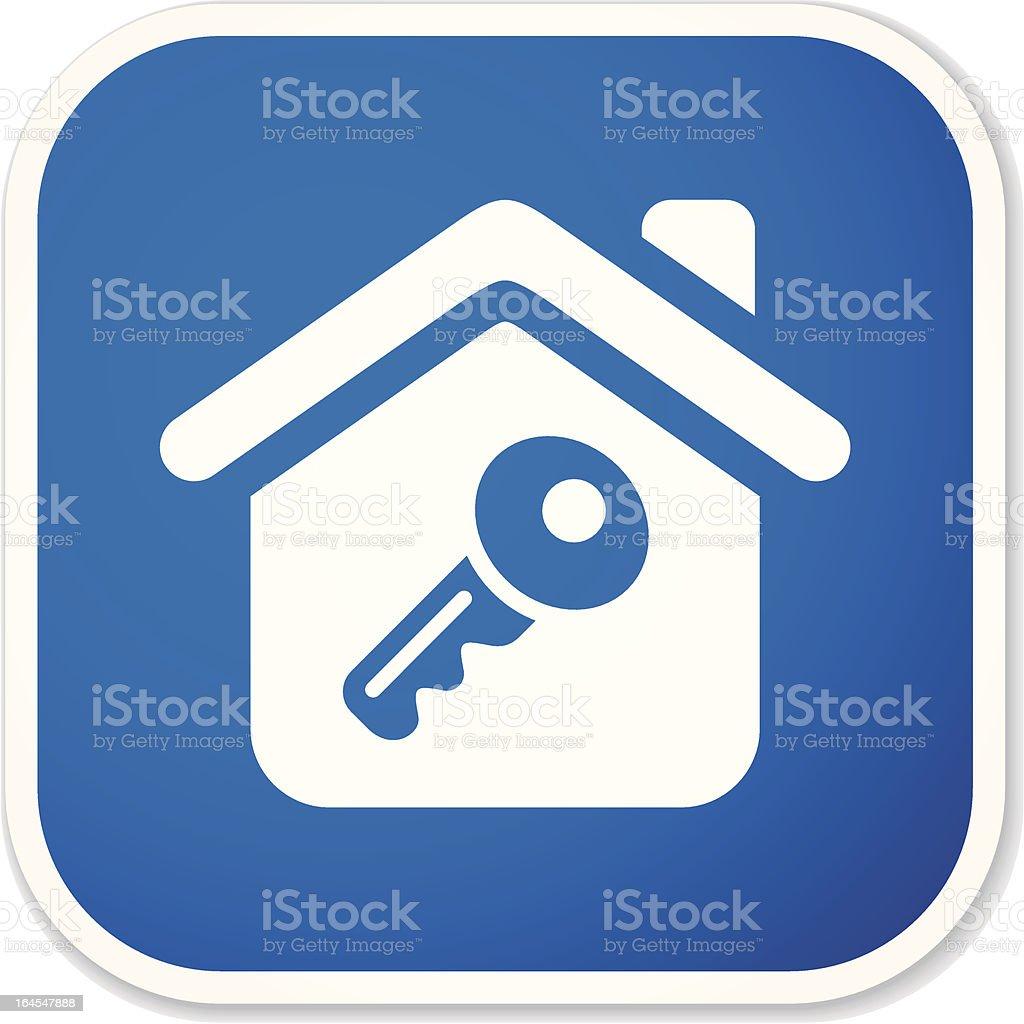home key sq sticker royalty-free stock vector art
