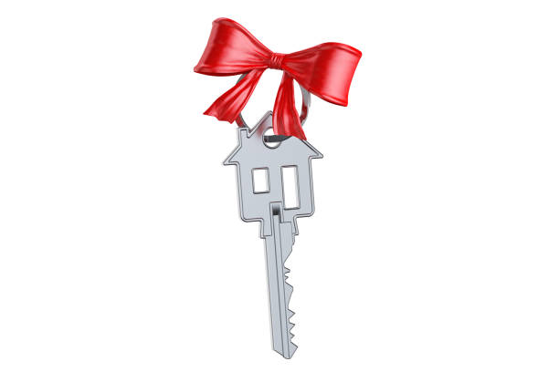 Home key with red bow, gift concept. 3D rendering isolated on white background vector art illustration