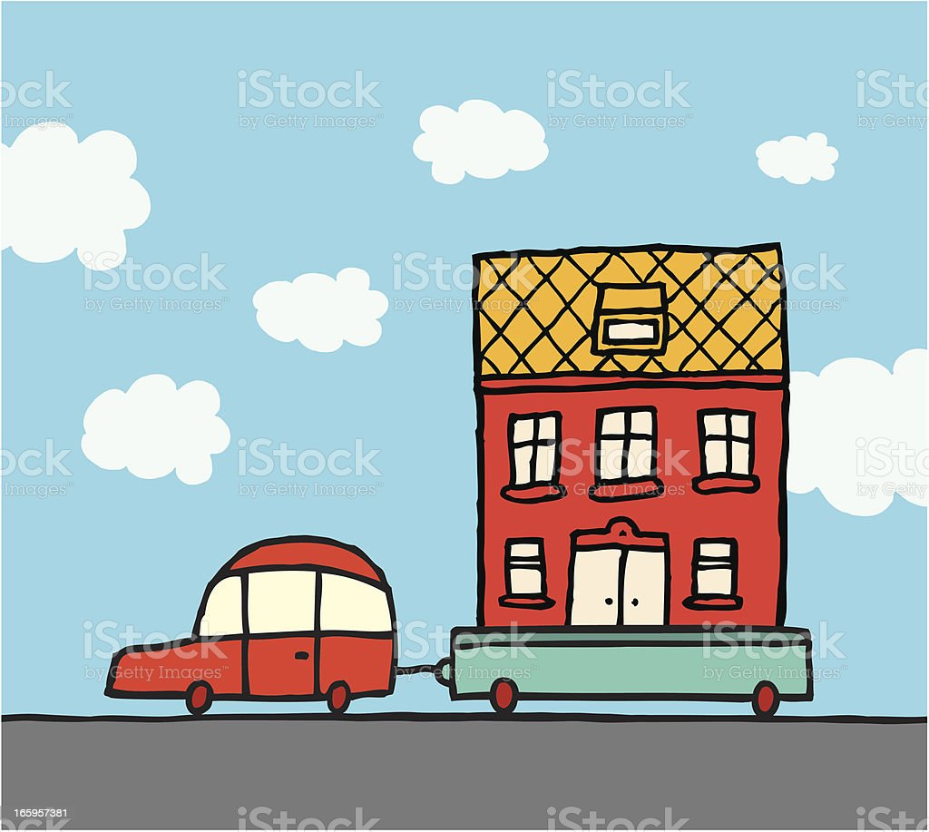 Home moving / Car and trailer relocating house vector art illustration