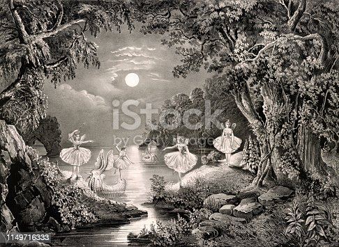 Vintage illustration features five fairies dancing on the water, on the edge of their boat, and on the shoreline.