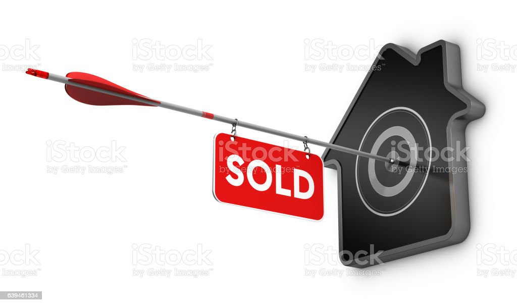 Home Sold Sign Over White Background, Real Estate Concept vector art illustration