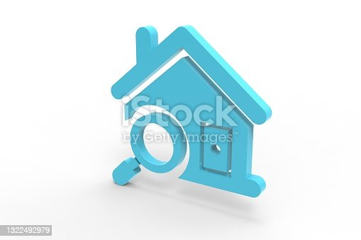istock Home with magnifying glass property search 3d real estate icon 1322492979
