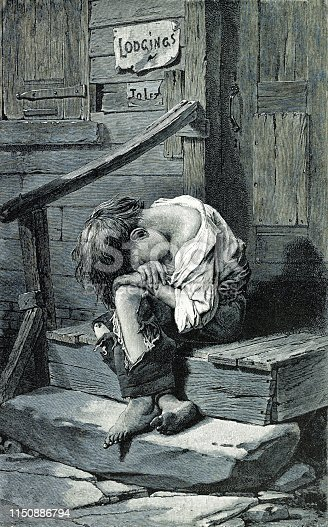 Vintage illustration shows a poverty-stricken child huddled on a door stoop wearing ragged clothing.