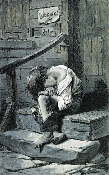 Homeless Child Vintage illustration shows a poverty-stricken child huddled on a door stoop wearing ragged clothing. hungry child stock illustrations