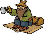 cartoon homeless man