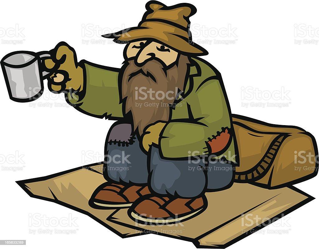 homeless vector art illustration