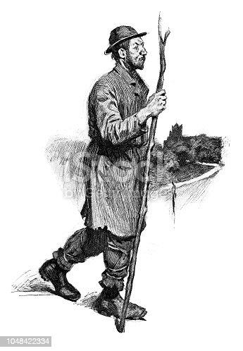 Homeless man walking - Scanned 1899 Engraving