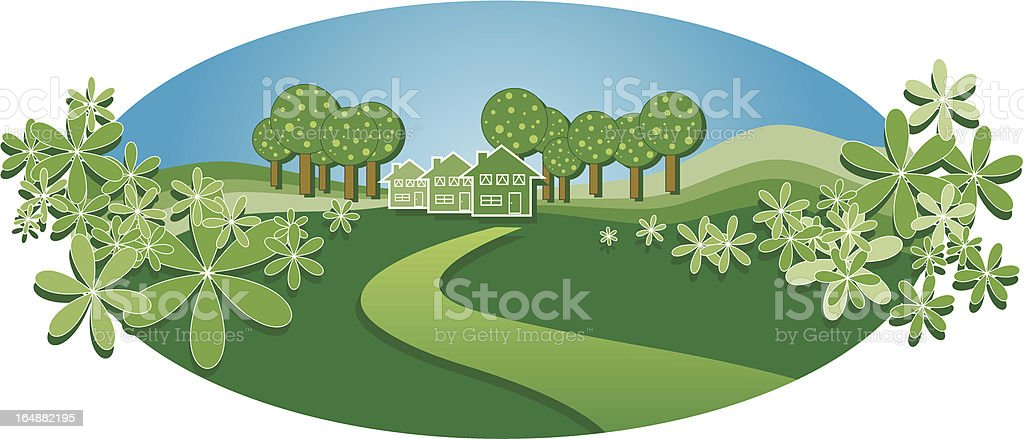 Homely countryside houses royalty-free stock vector art