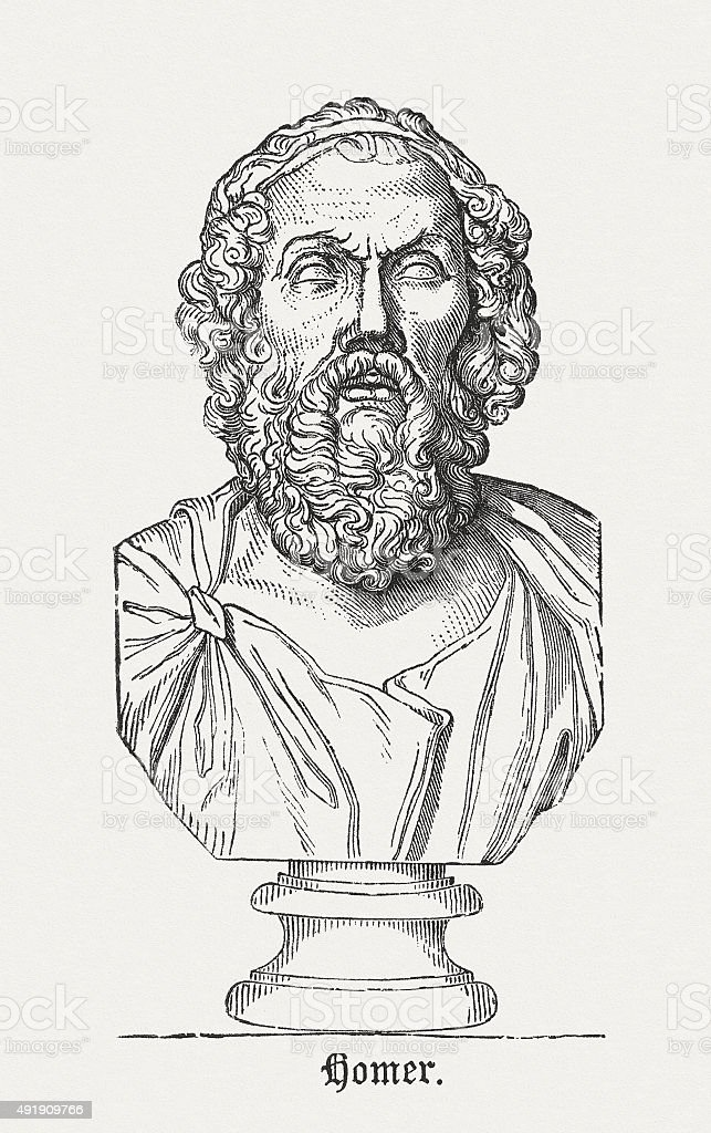 Homer- Ancient Greek poet, published in 1878 vector art illustration