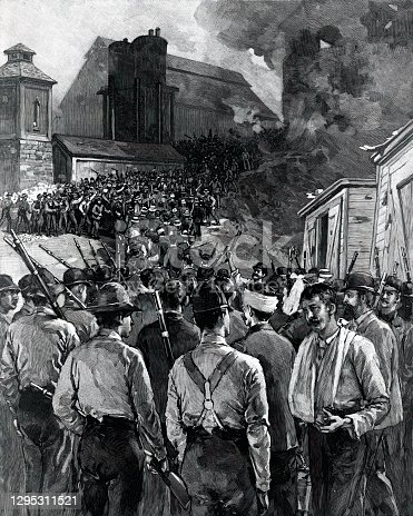 Vintage engraving features the Homestead Strike, also called the Homestead Riot, a violent labor dispute between the Carnegie Steel Company and many of its workers that occurred on July 6, 1892, in Homestead, Pennsylvania.