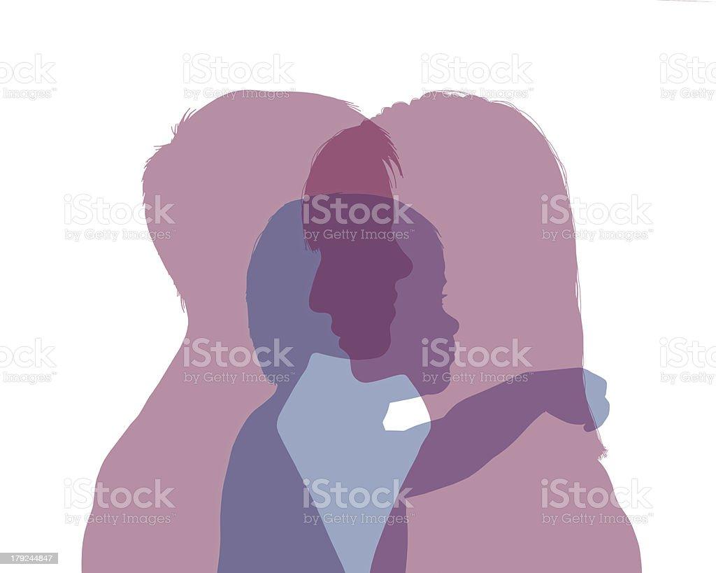 男性と女性のカップルベビーカラフルなシルエット - 2人のベクターアート