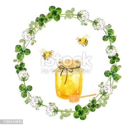 Honey and bees with flowers