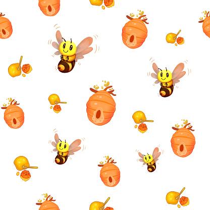 Honey Bee Beehive Seamless Pattern, For Kids